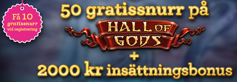 50 free spins på hall of gods hos vinnarum