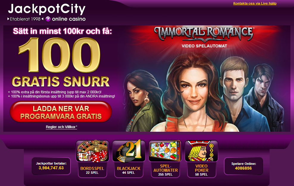 100 free spins hos Jackpotcity casino
